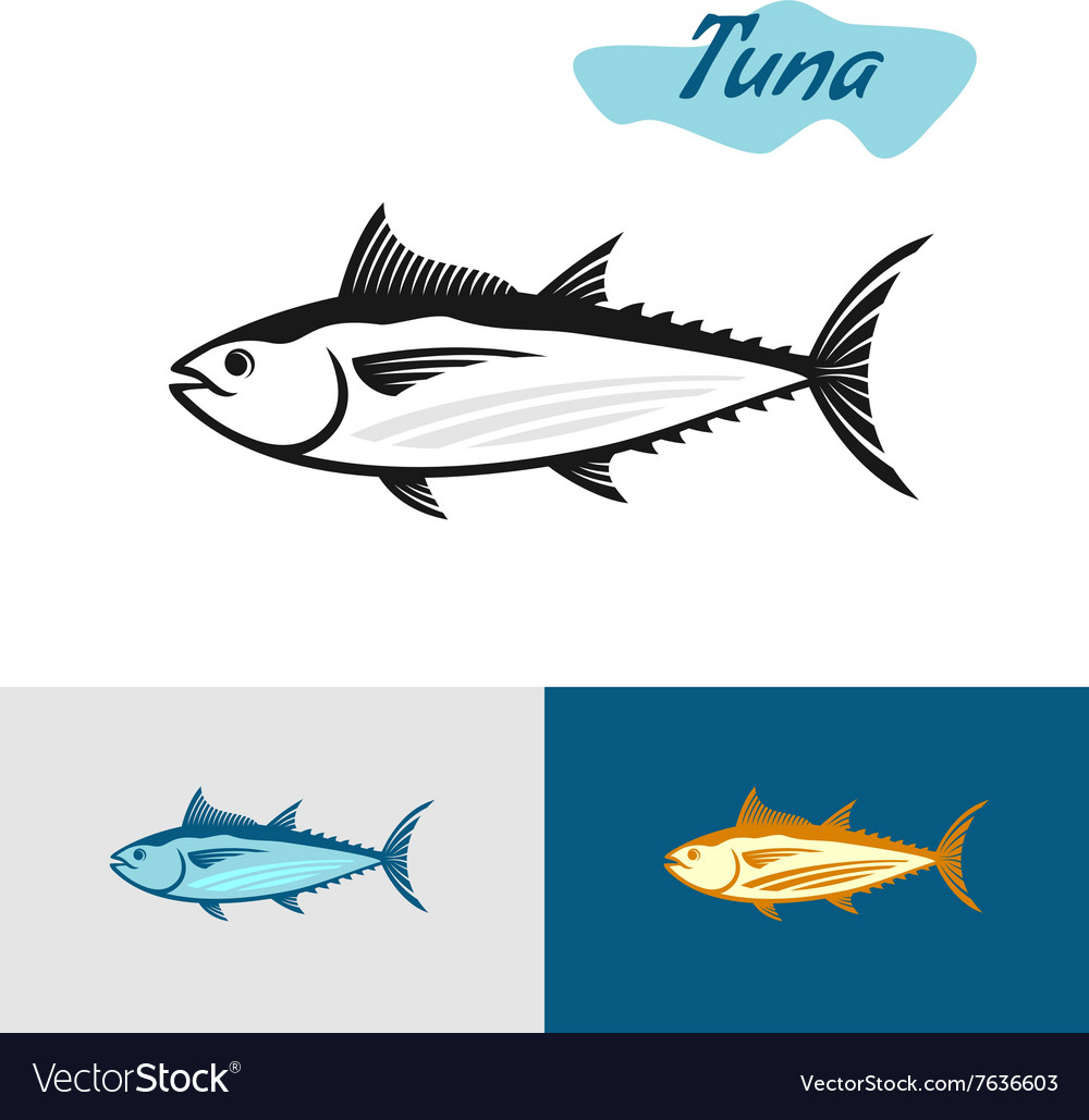 Tuna black silhouette simple of a tuna fish vector