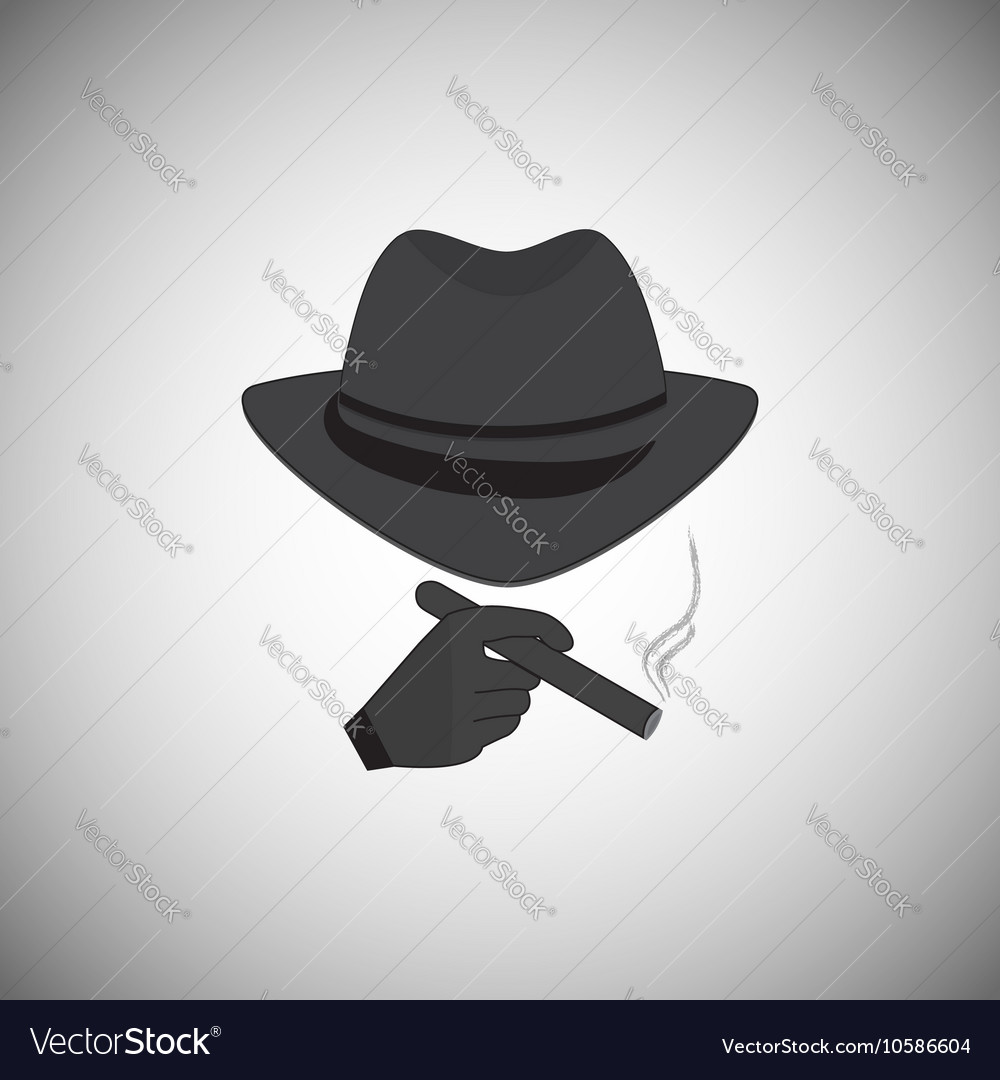 Silhouette of a man in a hat vector