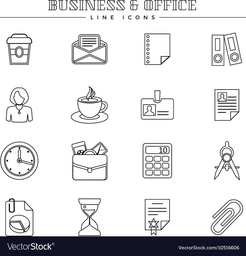 Business and office line icons set vector