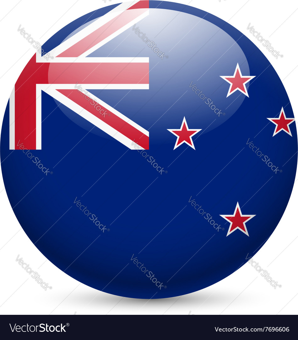 Round glossy icon of new zealand vector