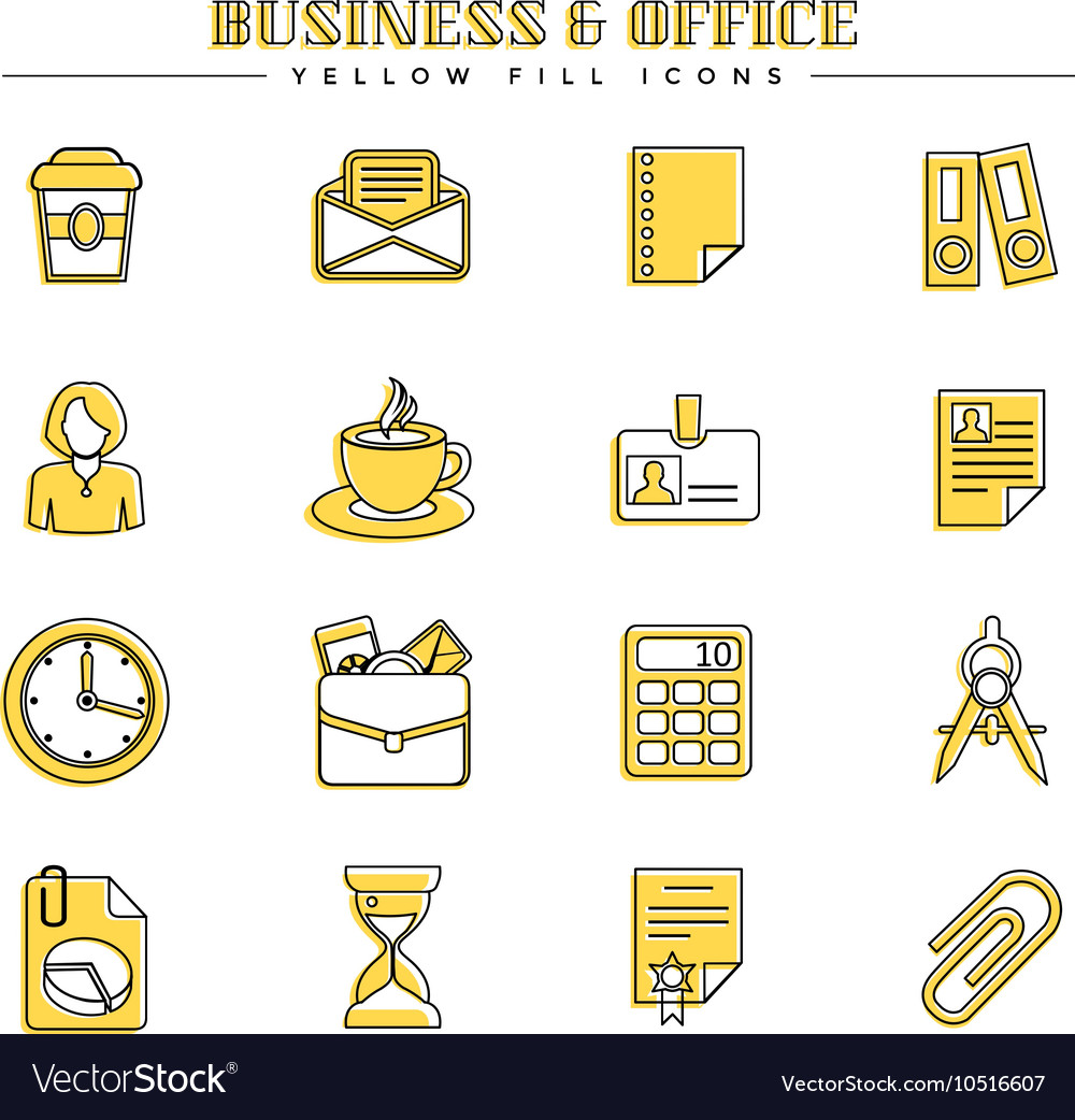Business and office yellow fill icons set vector
