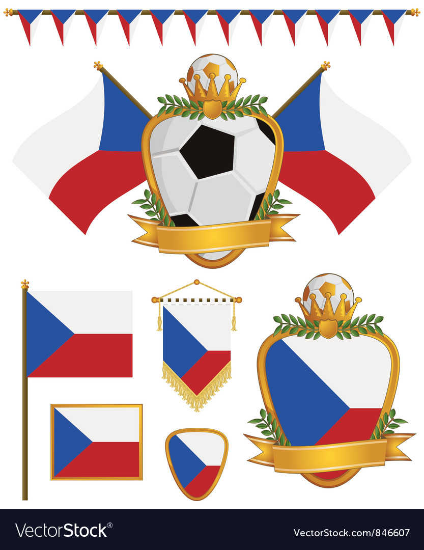 Czech republic flags vector