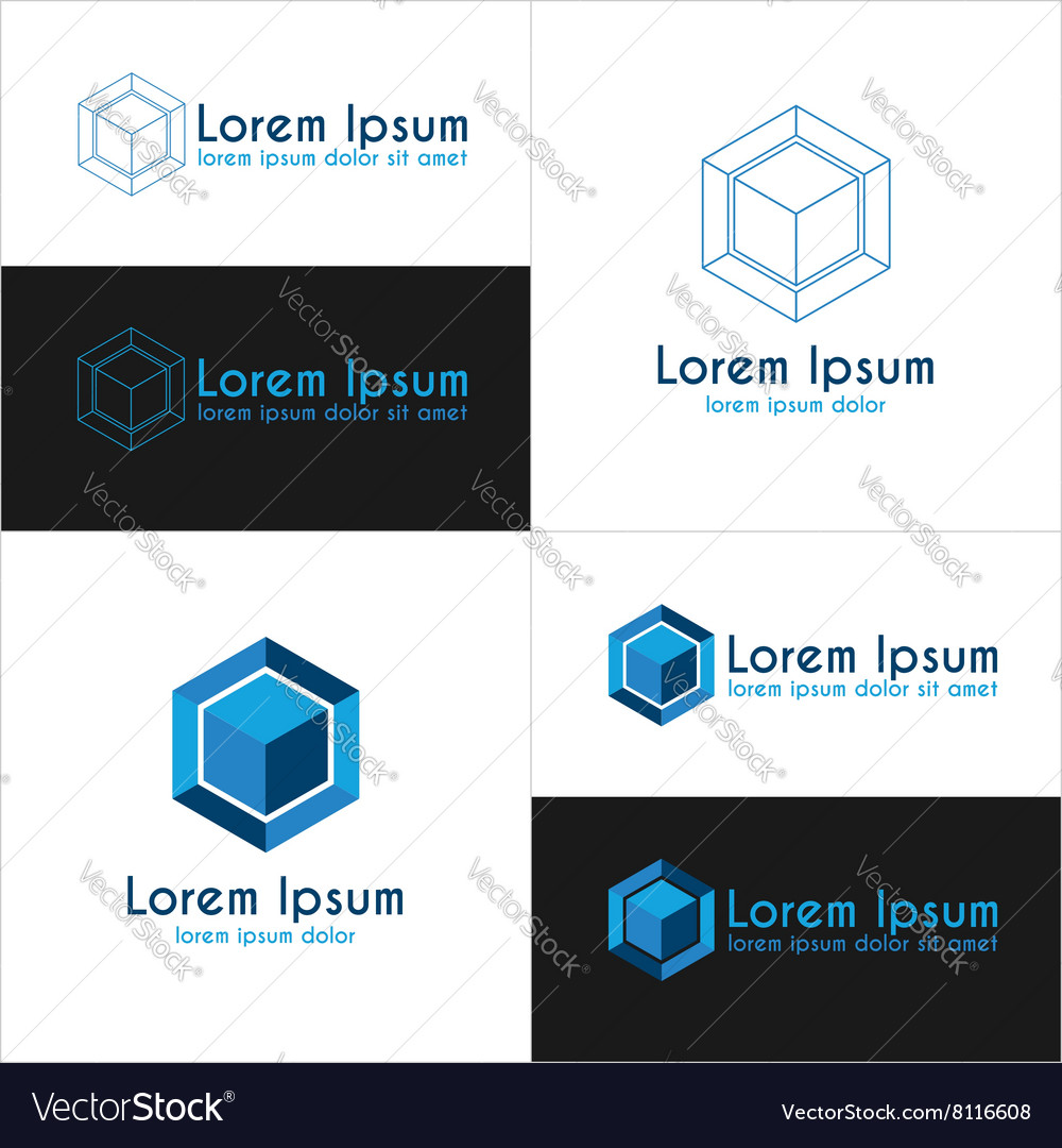 Blue cube logo templates vector