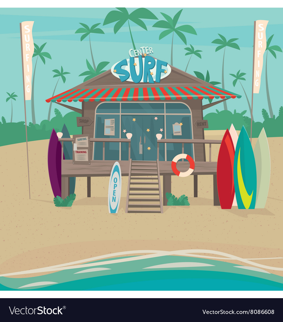 Surfing center with surfboards by the sea vector