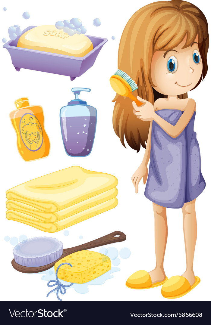 Woman combing hair and bathroom set vector