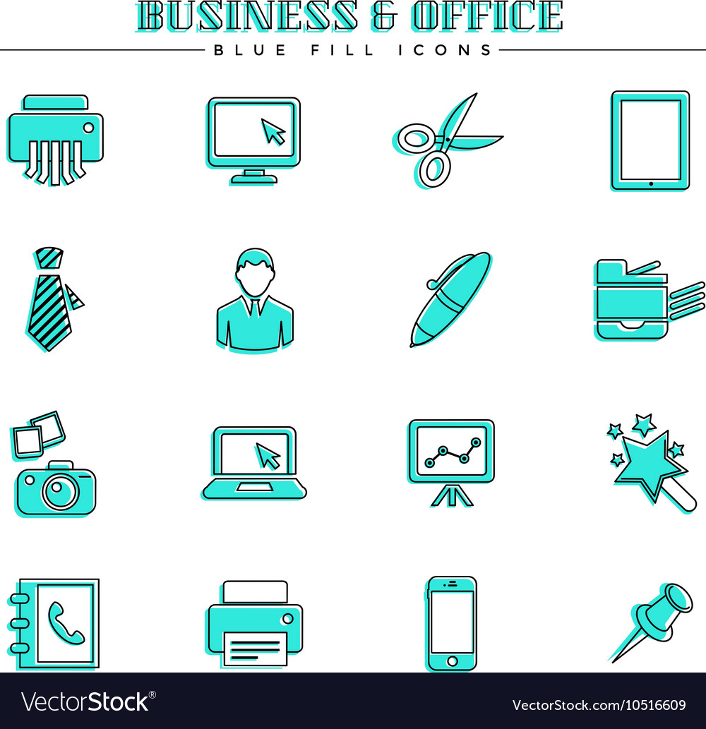 Business and office blue fill icons set vector
