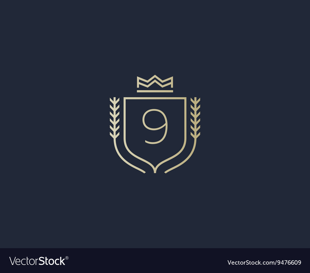 Premium number 9 ornate logotype elegant numeral vector