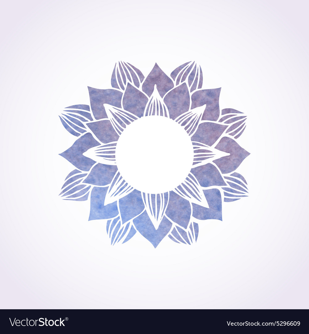 Watercolor blue frame with lace floral pattern vector