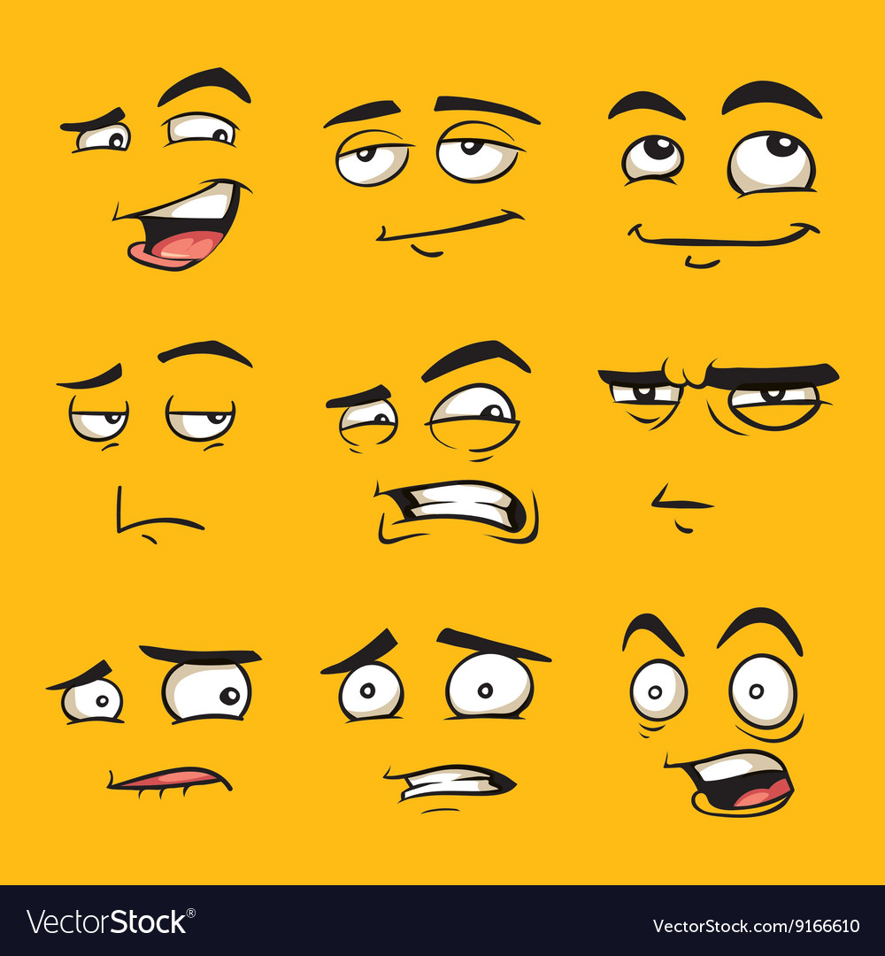 Funny cartoon faces with emotions vector