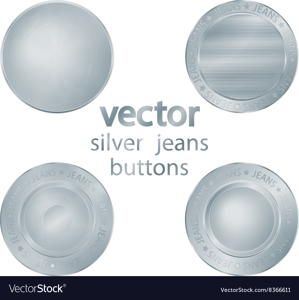 Set of classic jeans silver sewing buttons vector