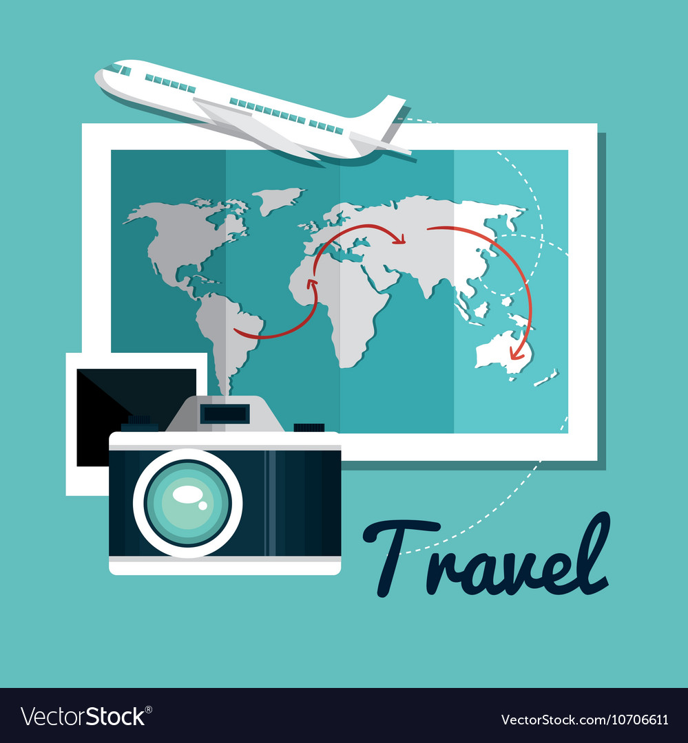 Set travel map camera airplane design vector