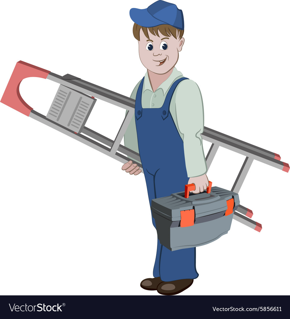 Workman standing with ladder and a toolbox vector