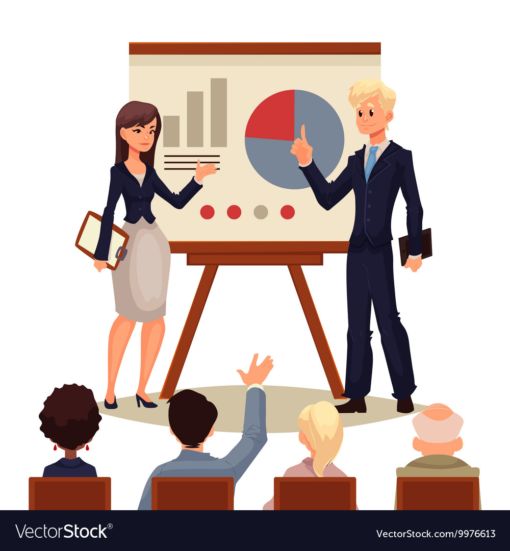 Businessman and businesswoman giving presentation vector