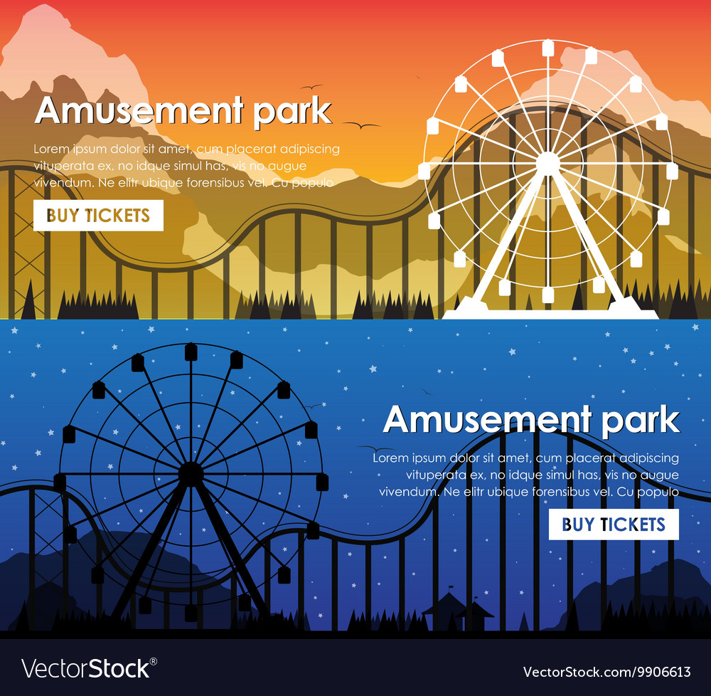 Design amusement park banners vector