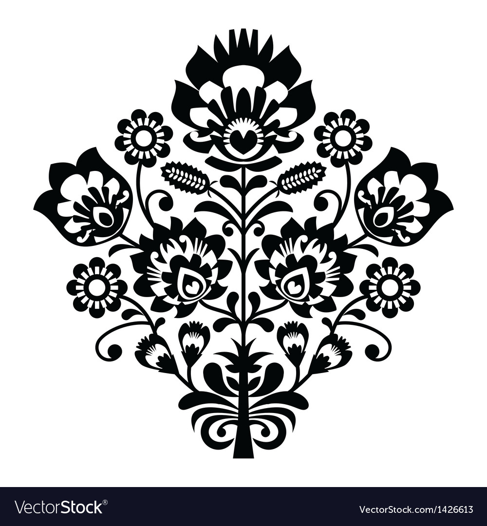 Traditional polish folk pattern in black and white vector