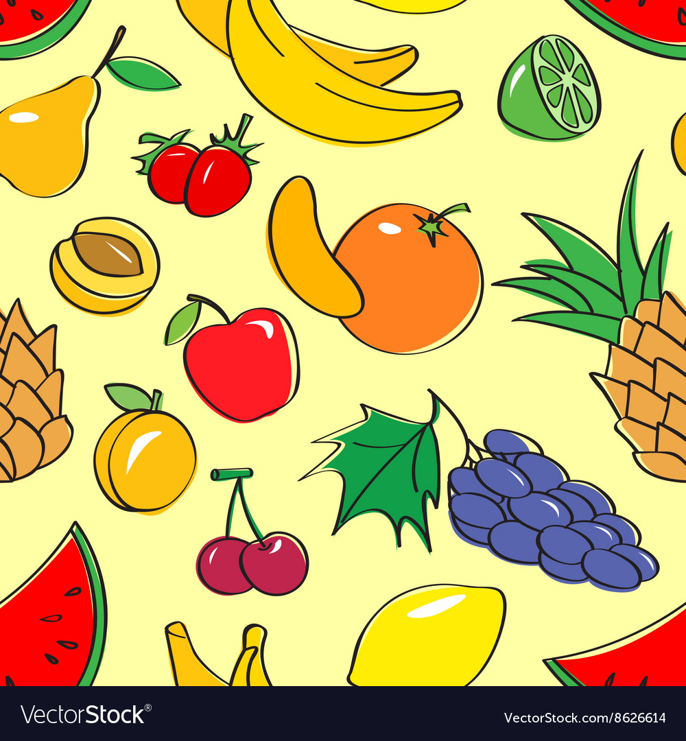 Seamless pattern with fruits vector