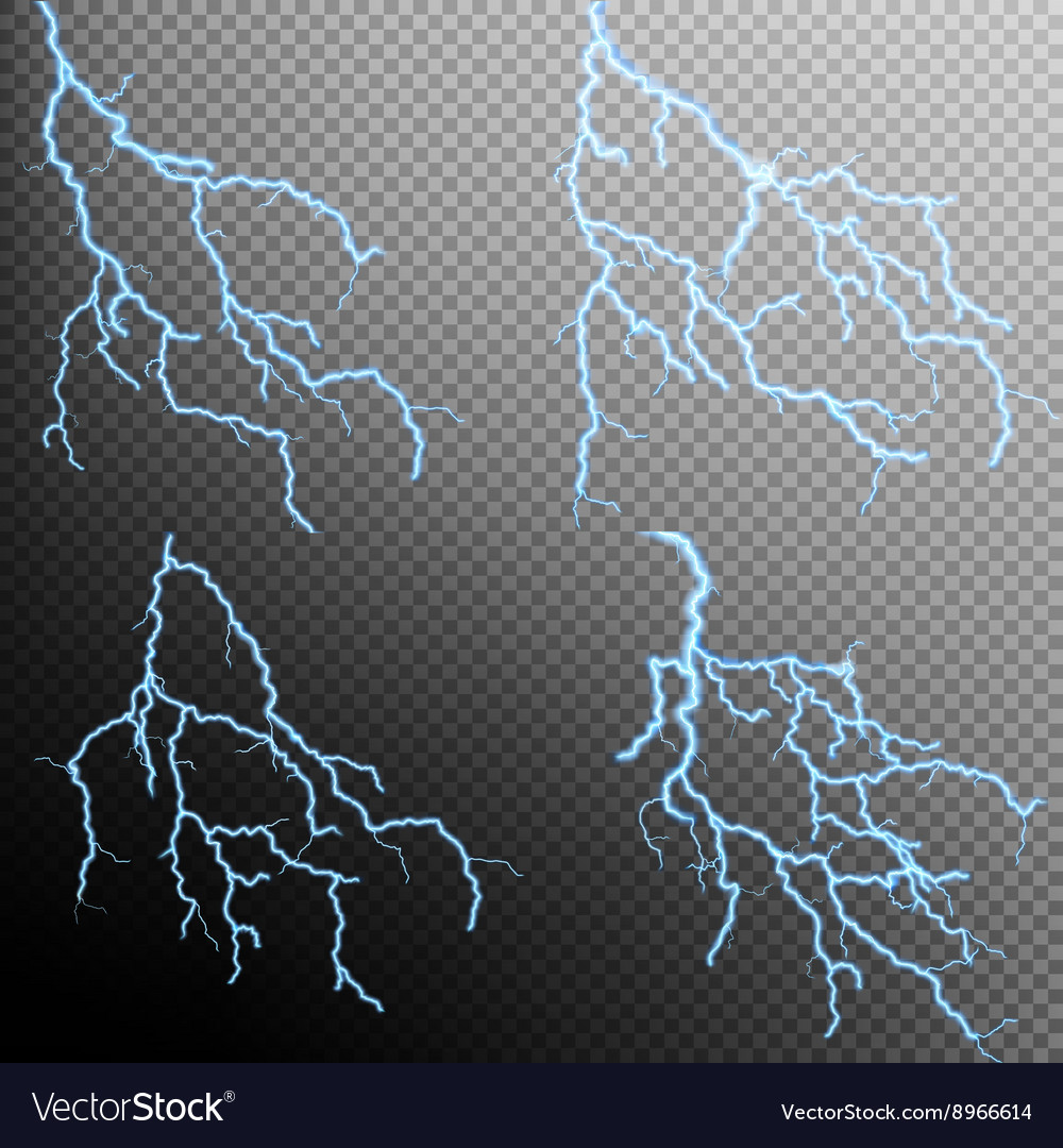 Set of the isolated realistic lightnings eps 10 vector