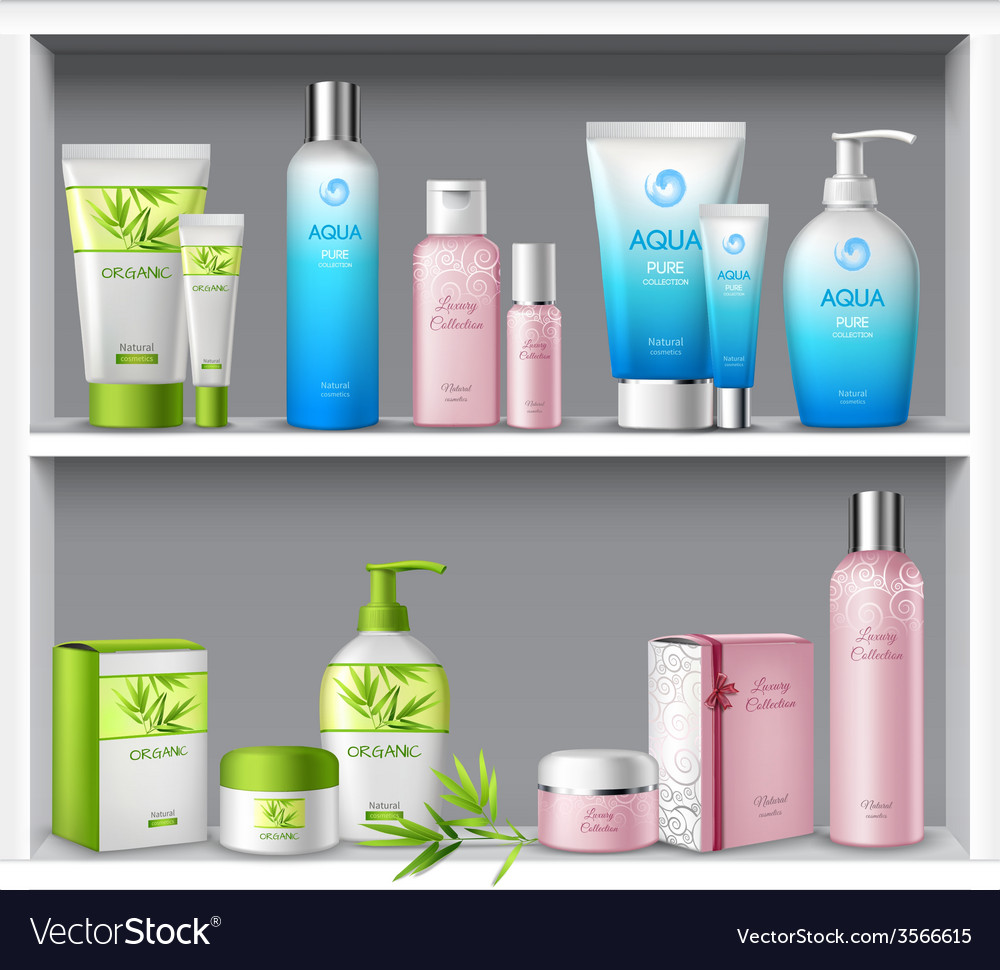 Cosmetics on shelves vector