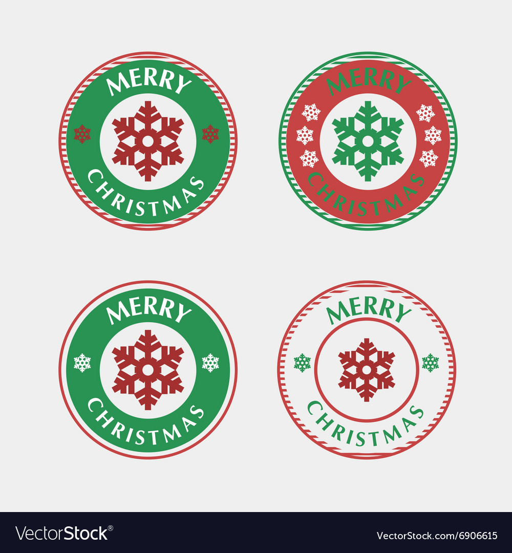 Set of christmas badges and labels vector