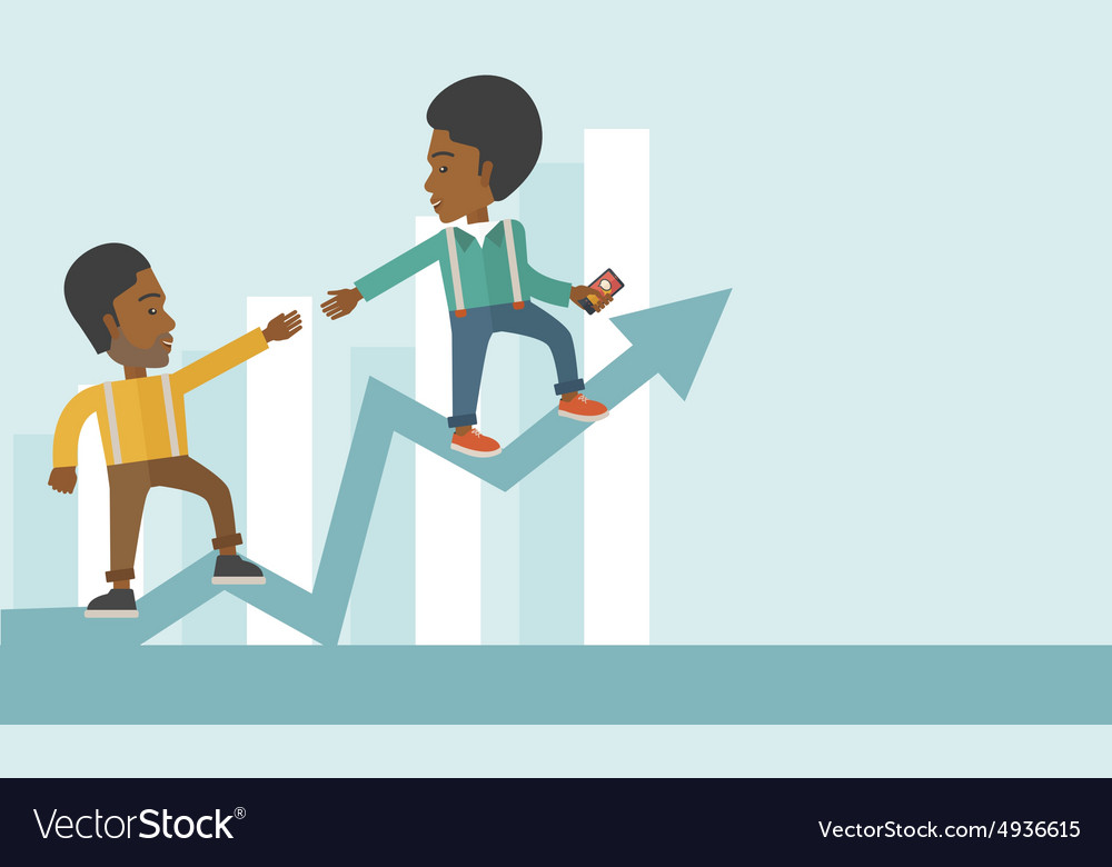 Two black guy walking in arrow going up vector