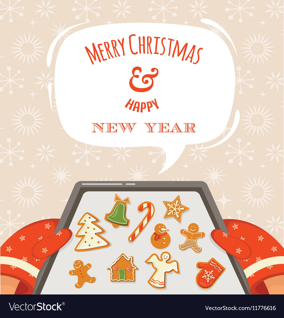 Christmas bakery gingerbread cookies vector