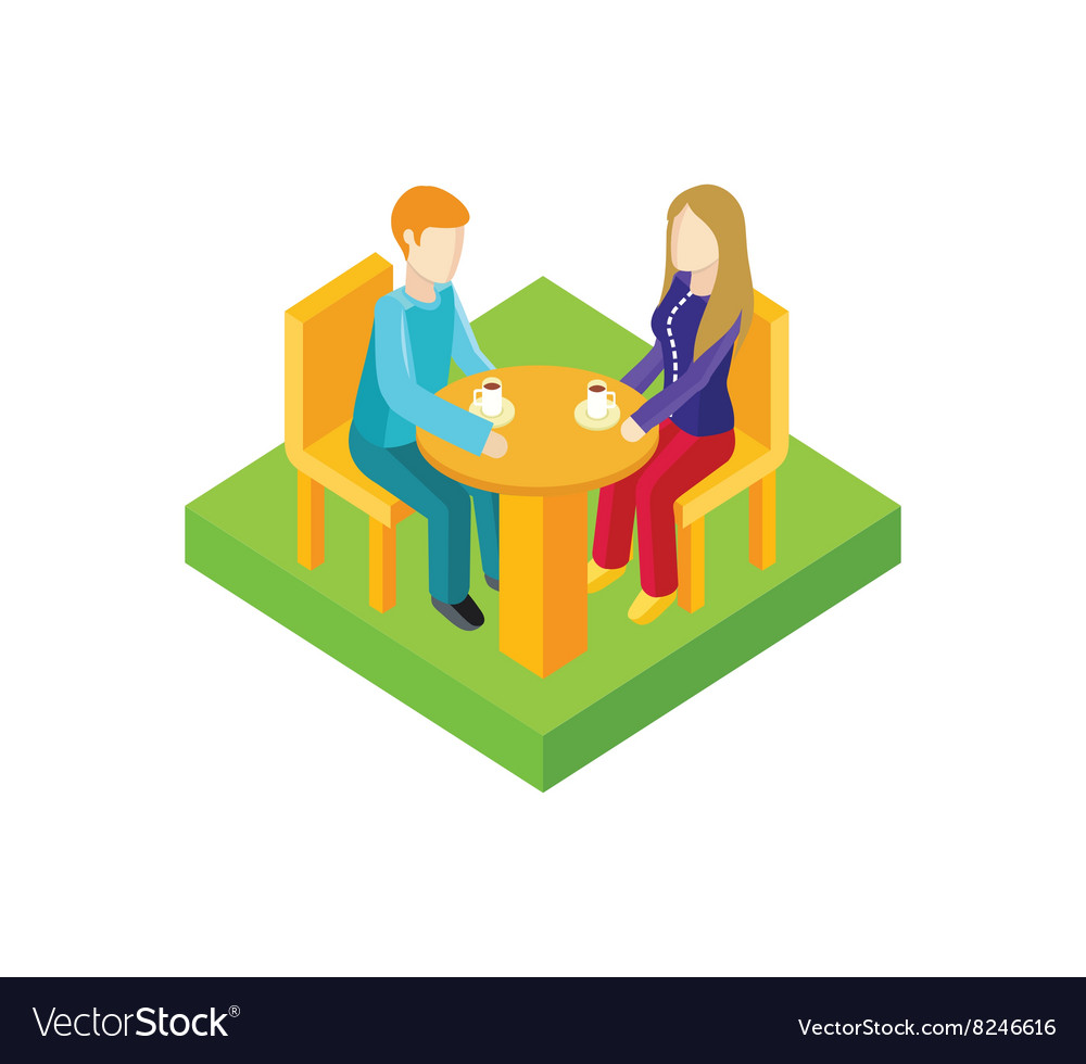 Couple date in cafe isometric design vector