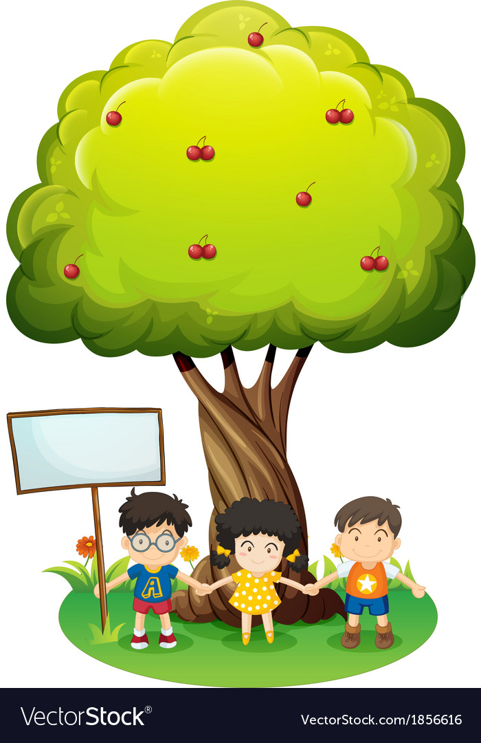 Kids under the tree beside the empty wooden board vector