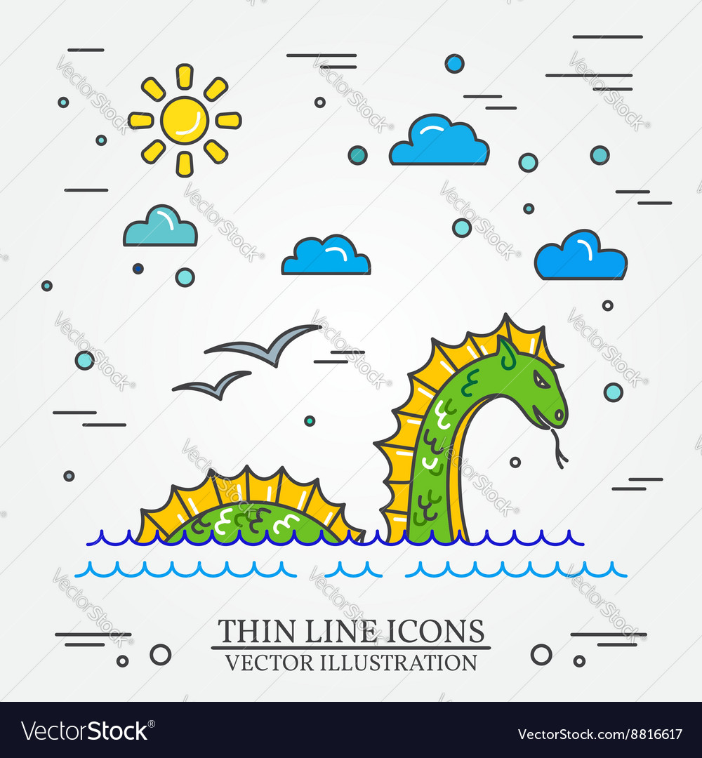 Loch ness monster logo thin line icon for web vector