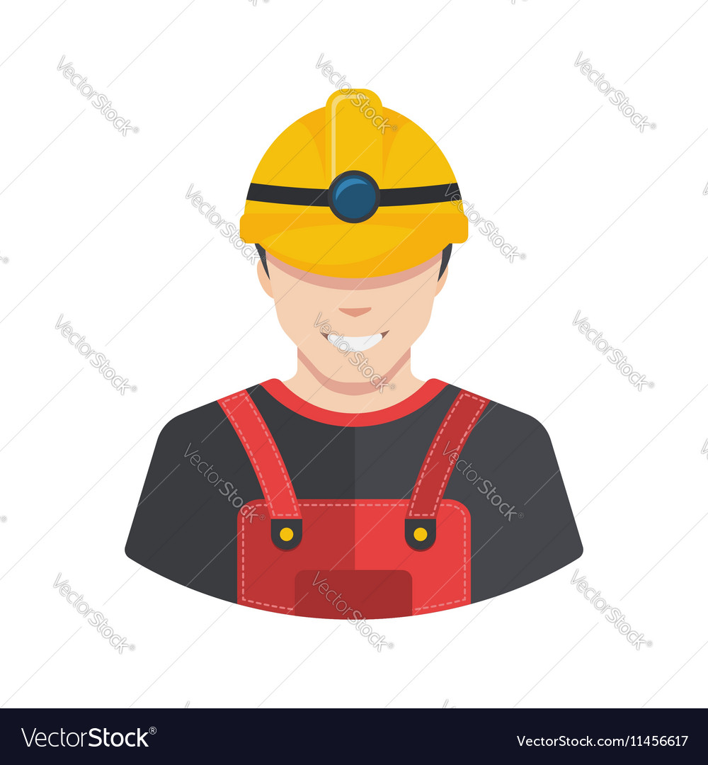 Smiling construction worker builder icon avatar vector