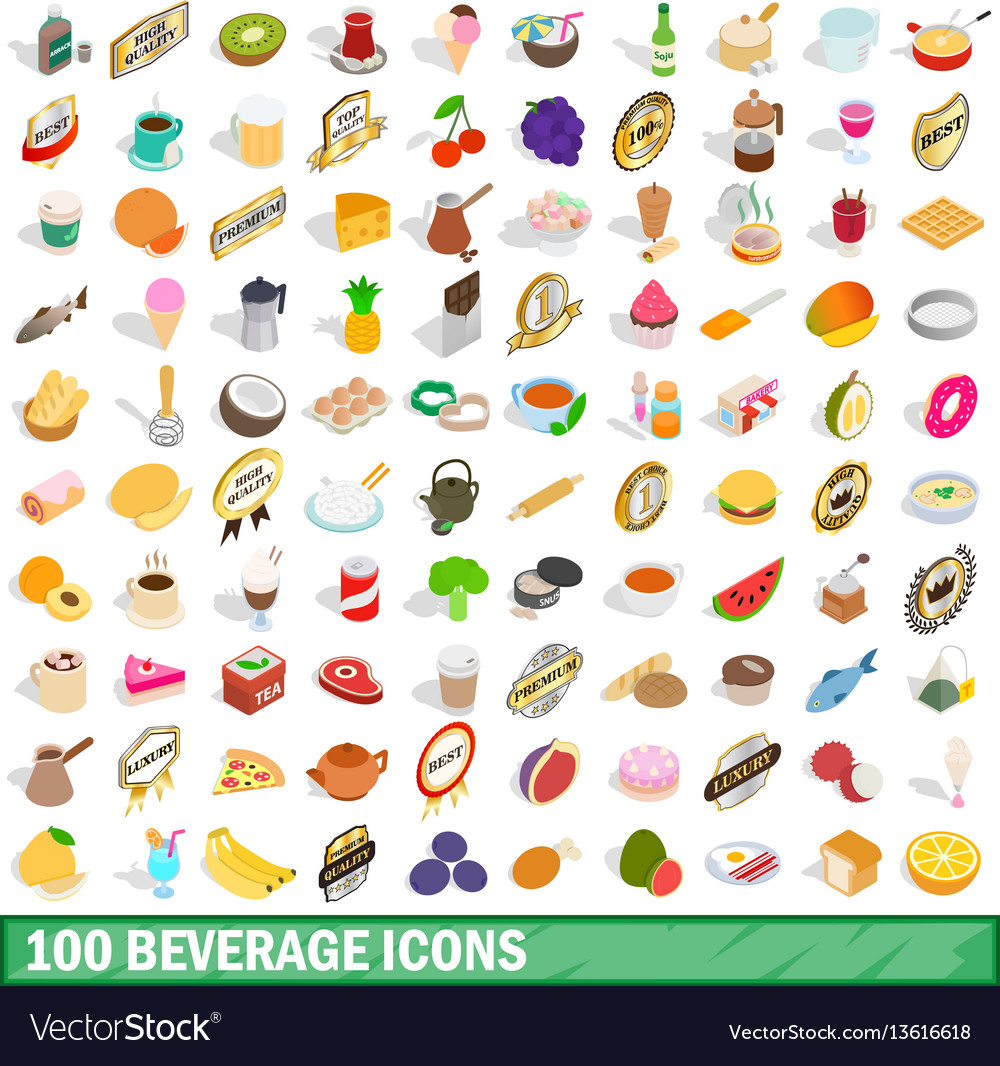 100 beverage icons set isometric 3d style vector