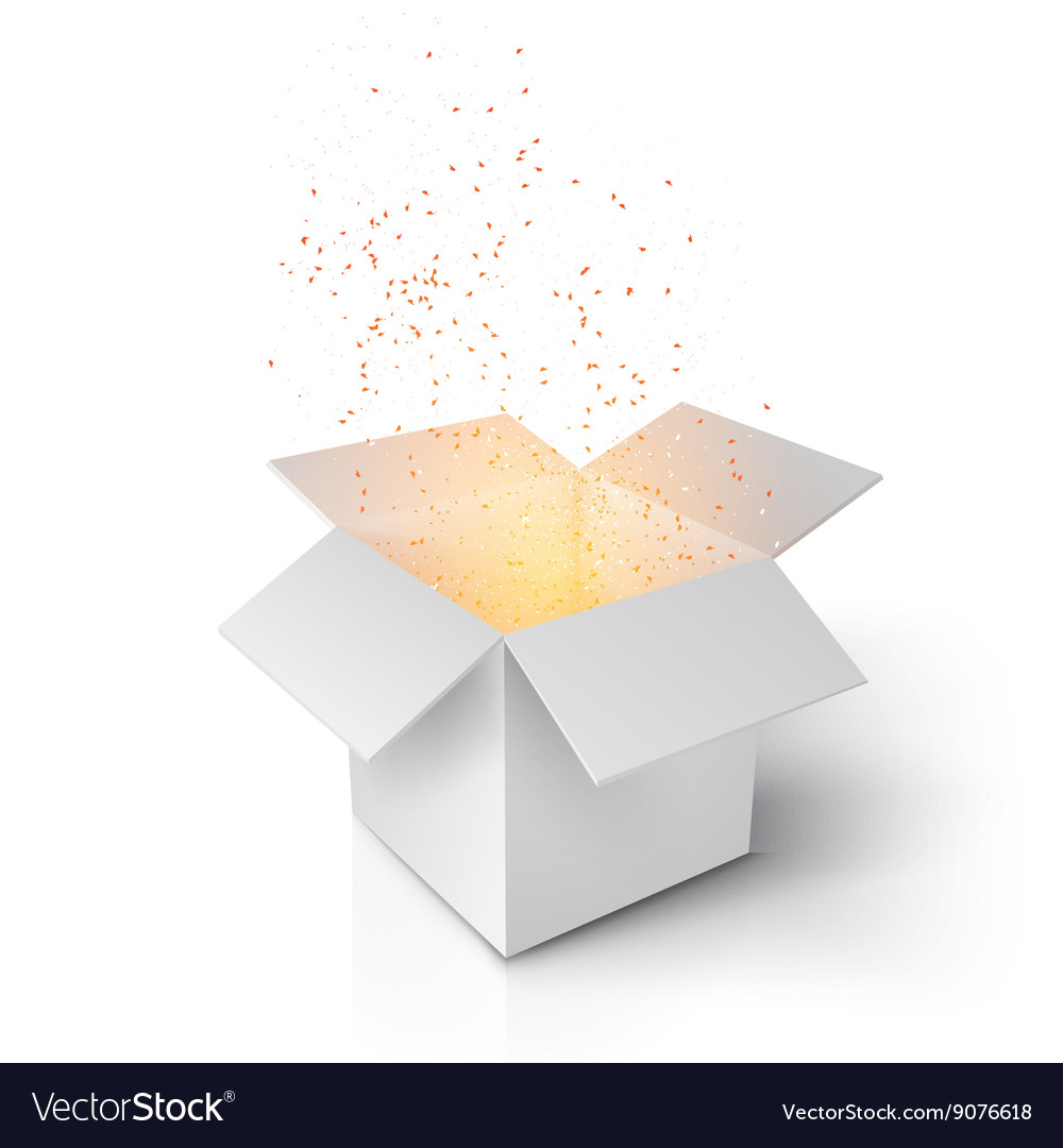 Realistic magic open box grey magic box with vector