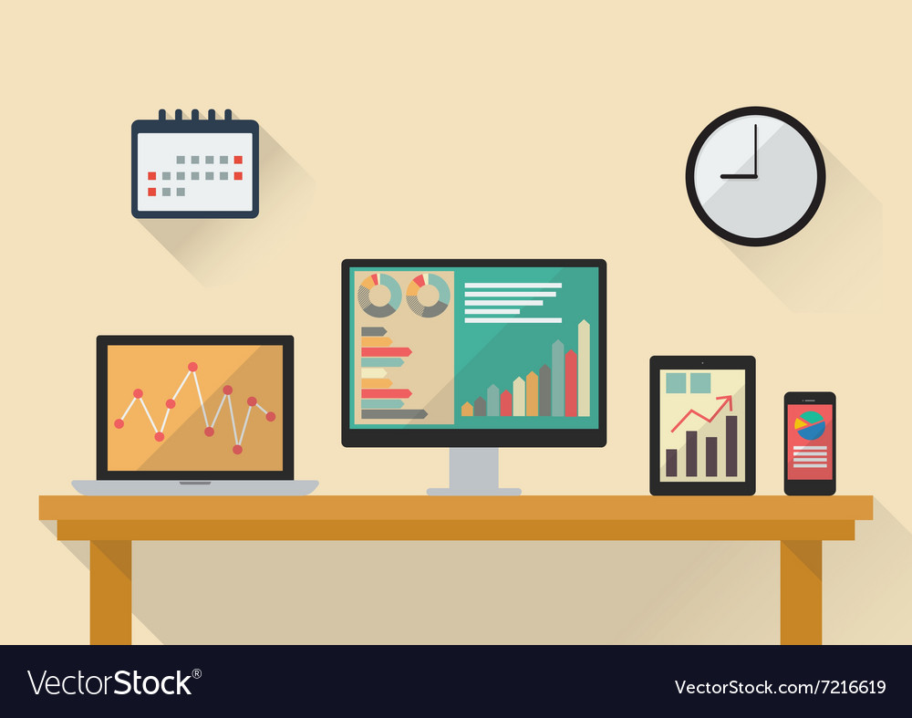 Business stock exchange on various media devices vector
