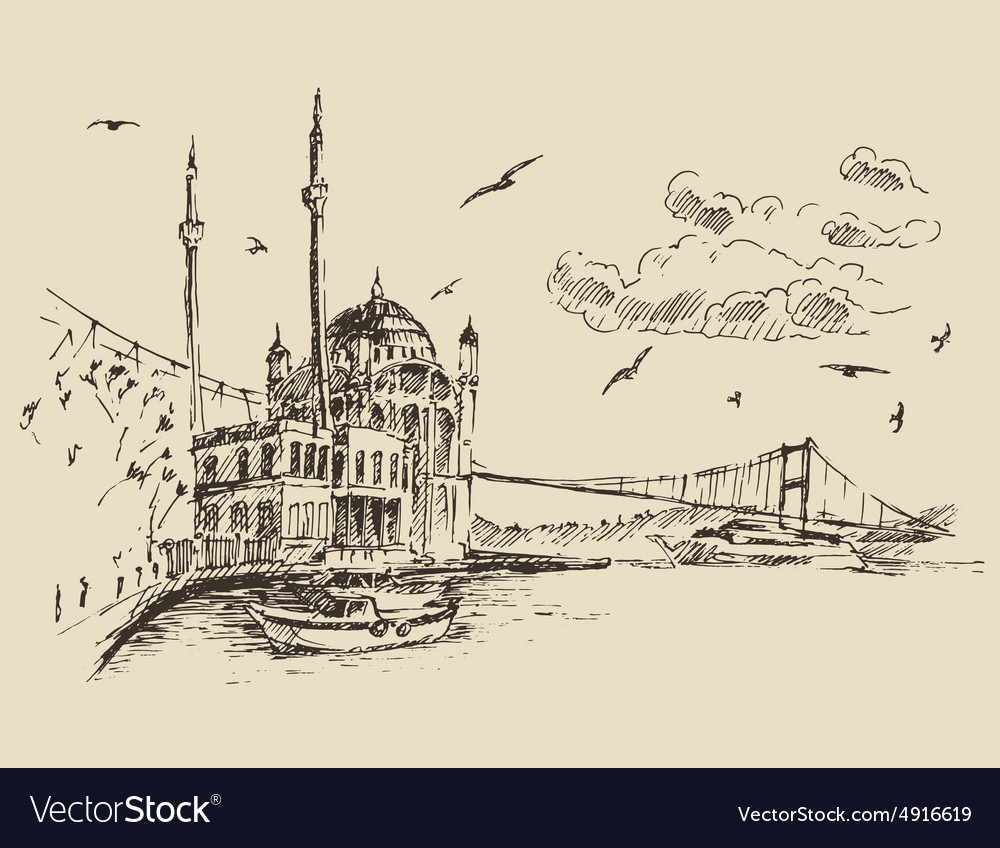 Istanbul turkey city bosphorus vintage engraved vector