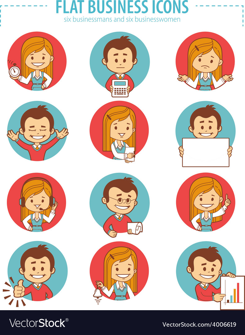 Set of flat business icons with businessmans and vector