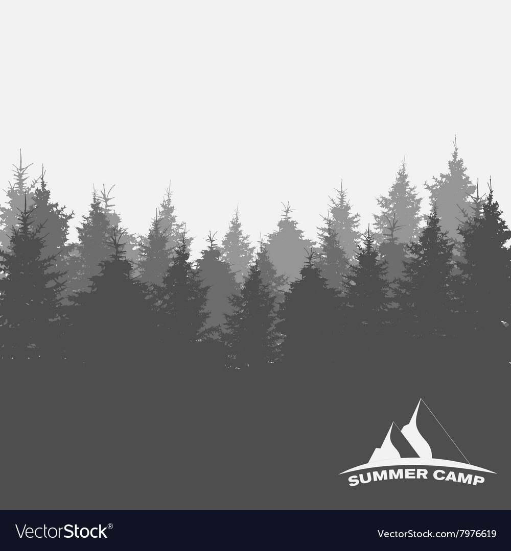 Summer camp image of nature tree silhouette vector