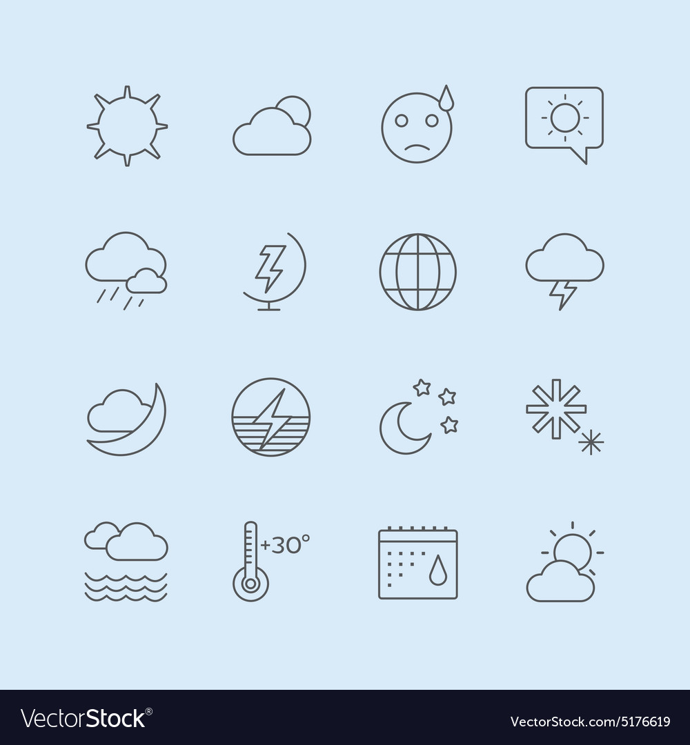 Weather icons set moon sky or wind and vector