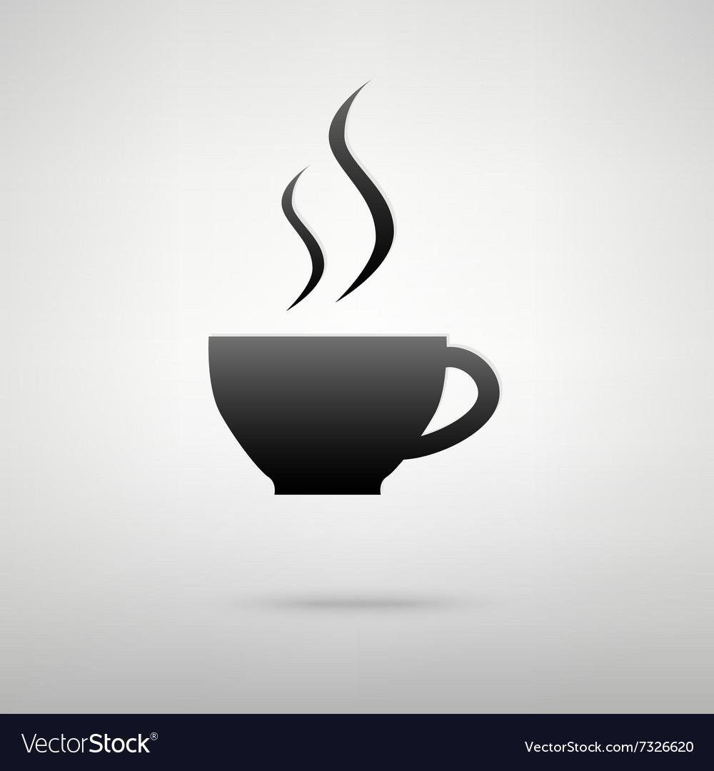 Cup of coffee black icon vector