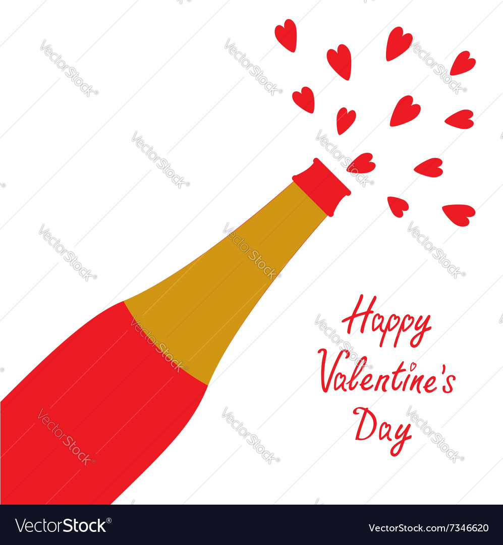 Happy valentines day love card champagne bottle vector