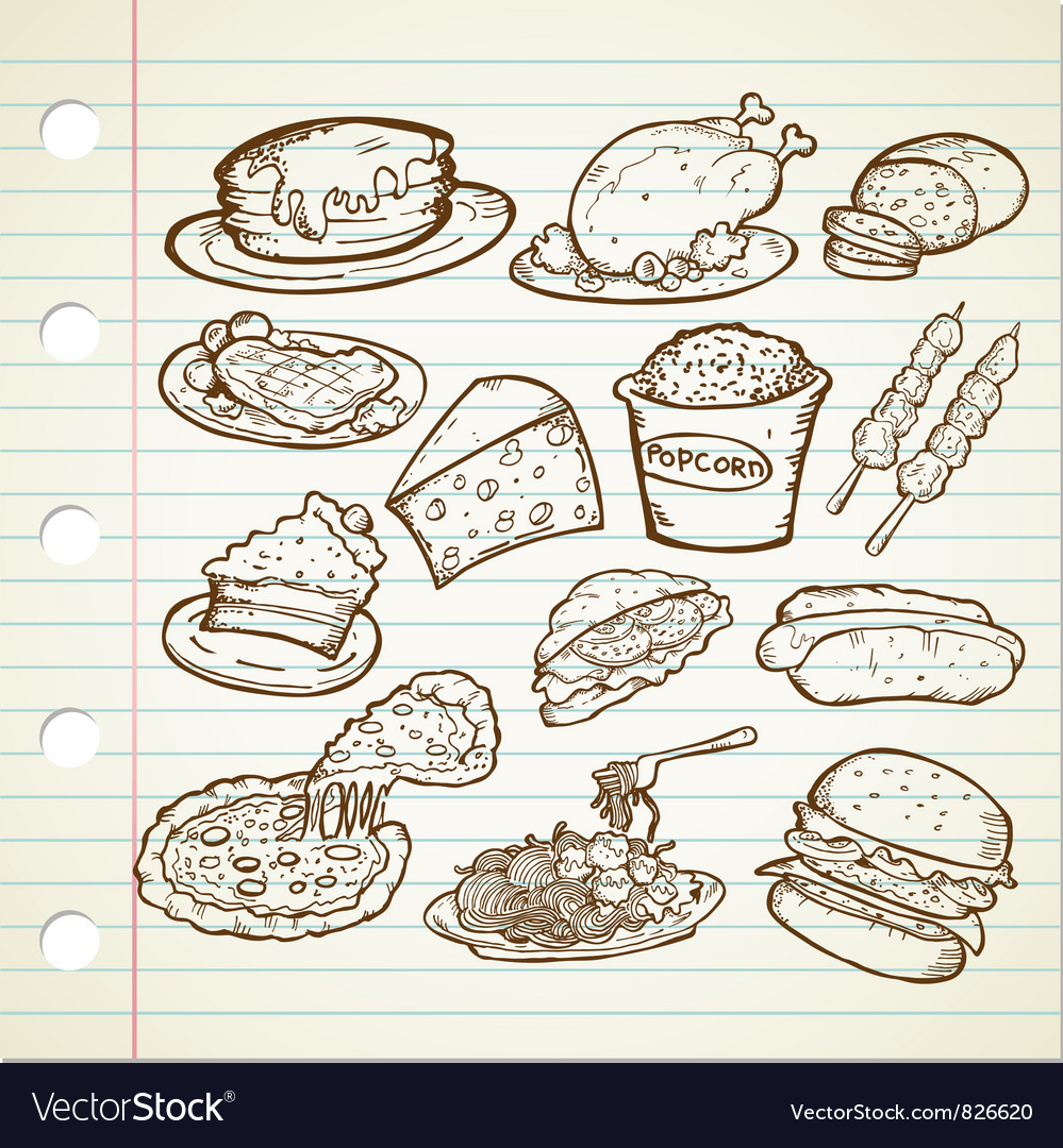 Junk food doodles vector