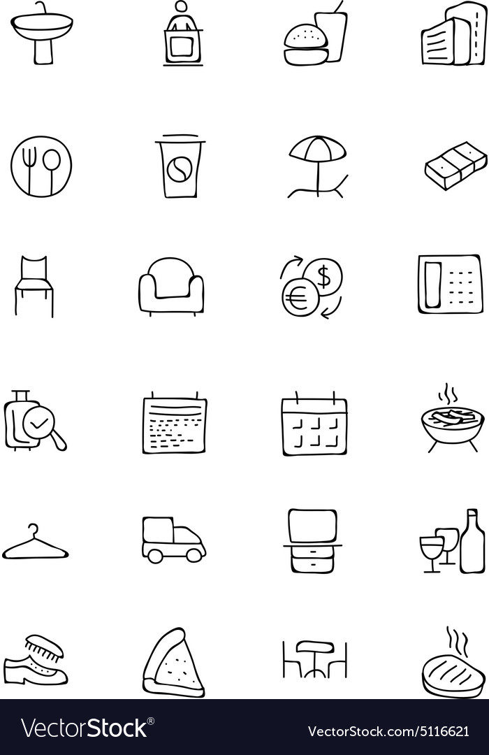 Hotel and restaurant doodle icons 8 vector