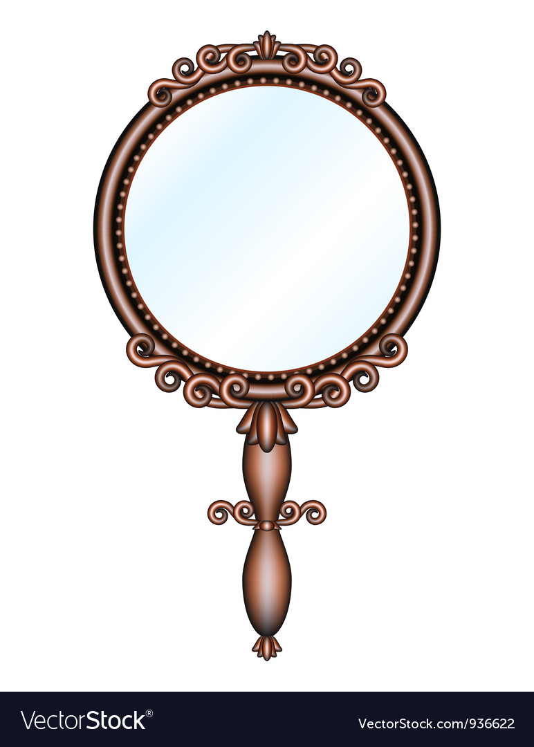 Antique retro handheld mirror vector