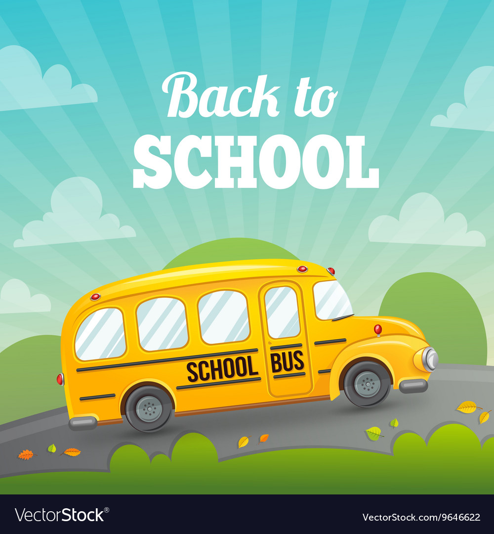 School bus and greeting text vector