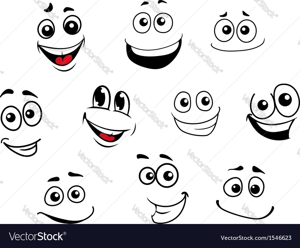 Funny cartoon emotional faces set vector