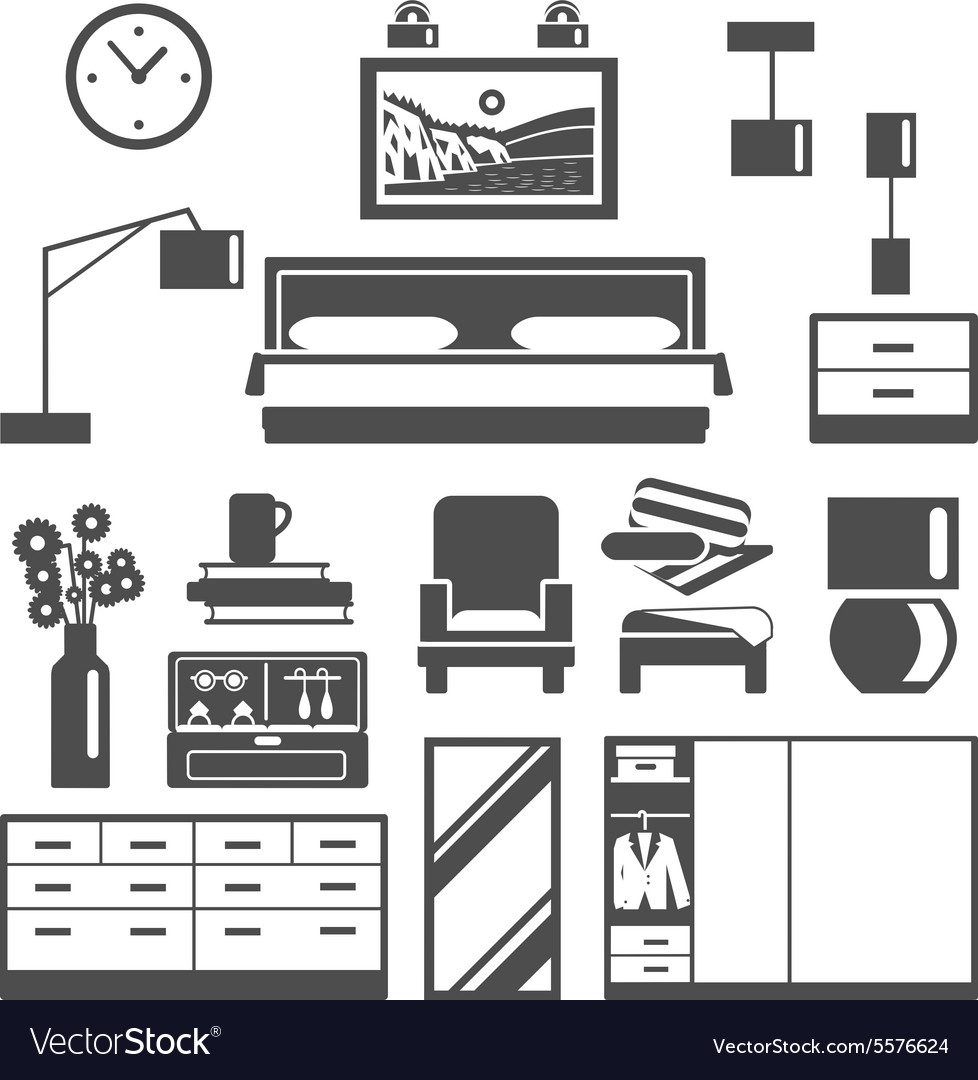 Bedroom furniture icons set vector