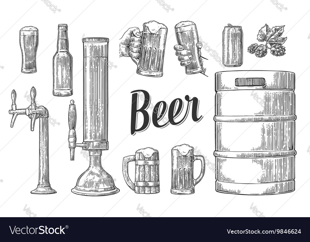 Beer set with two hands holding glasses mug and vector