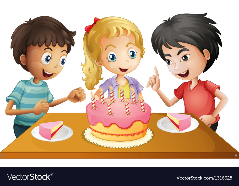 A table with cake surrounded by three kids vector