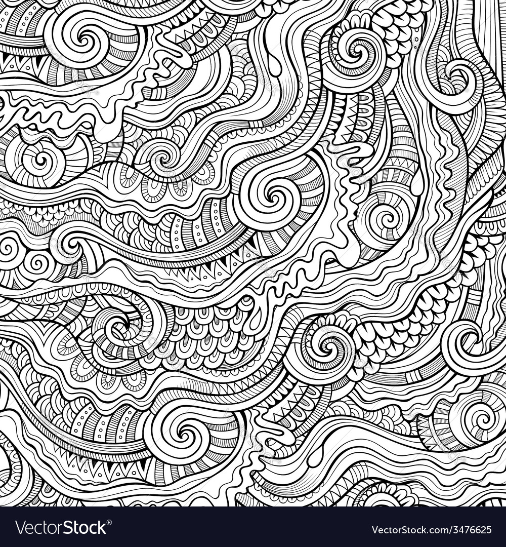 Doodles decorative contour background vector