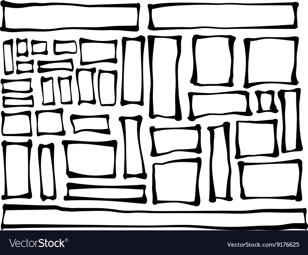 Handdrawn rectangle and square shapes over white vector