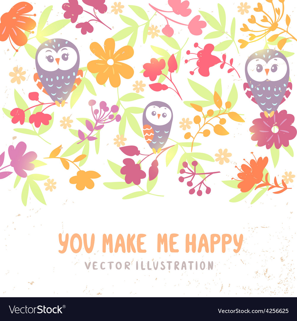 Owls and flowers background vector