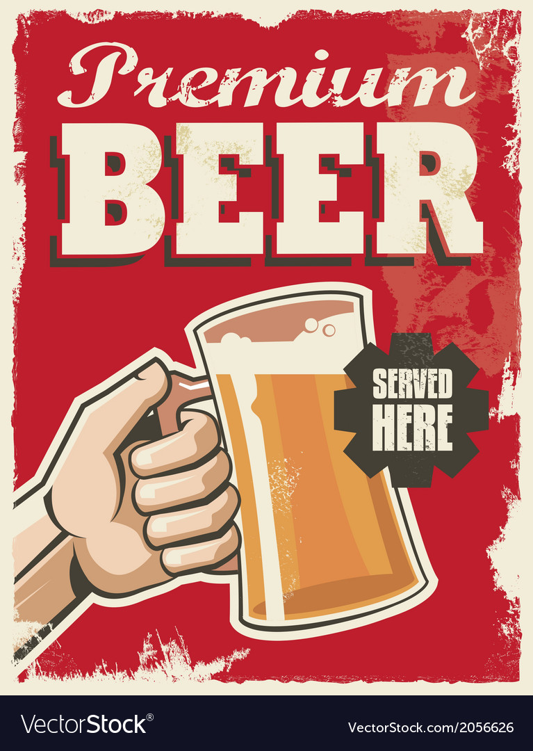 Vintage style beer sign  poster banner design vector